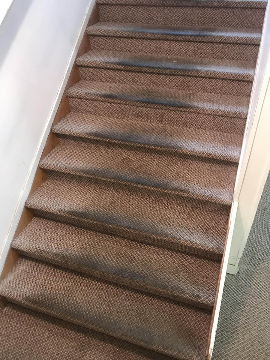 Dirty Carpeted Stairs Before Cleaning
